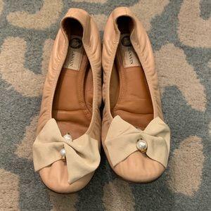 Lanvin Nude Bow Ballet Flats